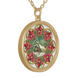 Poinsettia Christmas Holiday Gift Necklace