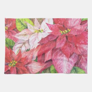 Poinsettia Christmas Kitchen towel