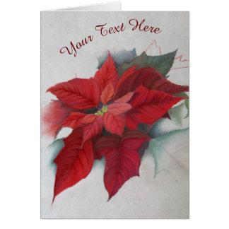 Poinsettia Christmas Oil Painting Card