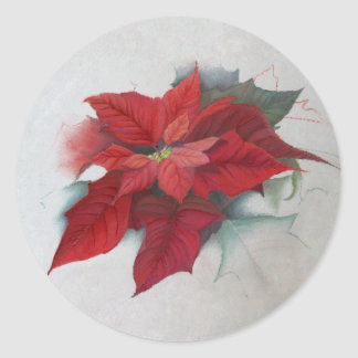 Poinsettia Christmas Oil Painting Classic Round Sticker