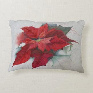 Poinsettia Christmas Oil Painting Decorative Pillow