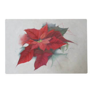 Poinsettia Christmas Oil Painting Placemat