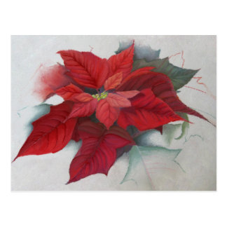 Poinsettia Christmas Oil Painting Postcard