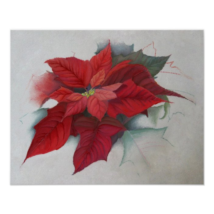 Poinsettia Christmas Oil Painting Poster Zazzle Com