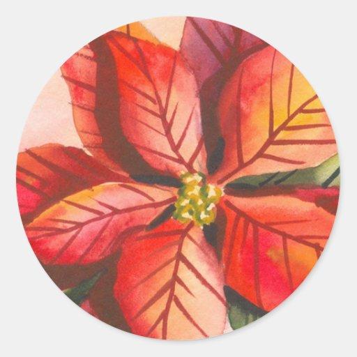 Poinsettia Christmas Sticker
