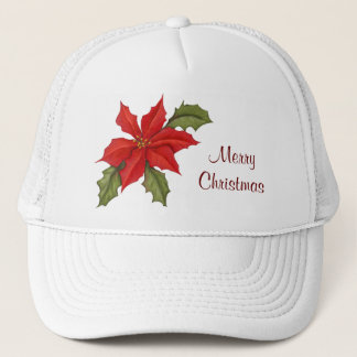 Poinsettia Christmas Trucker Hat