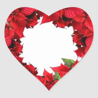 Poinsettia Christmas Wreath Heart Sticker