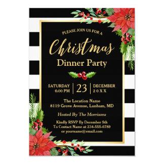"""Poinsettia clásico del fiesta de cena de navidad invitación 5"""" x 7"""""""