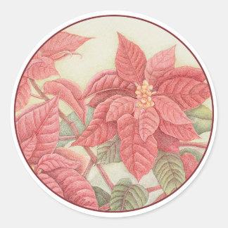 Poinsettia Classic Round Sticker