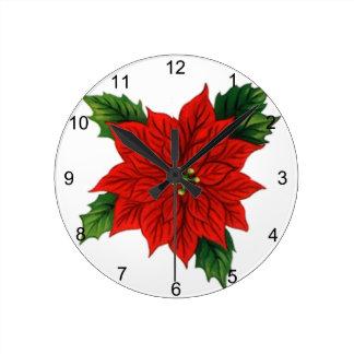Poinsettia Round Wall Clock