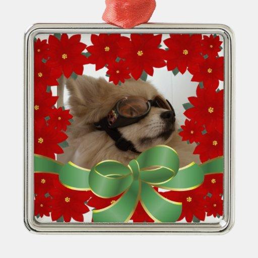 Poinsettia Custom Photo - Holiday Ornament