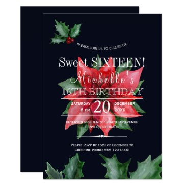 Beach Themed Poinsettia dark blue red green sweet sixteen card