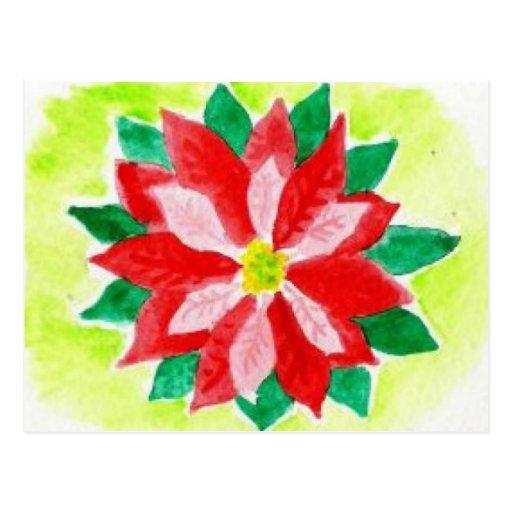 Poinsettia de la acuarela tarjetas postales