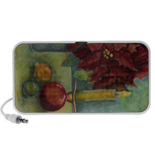 Poinsettia de la pintura de la acuarela del navida laptop altavoces