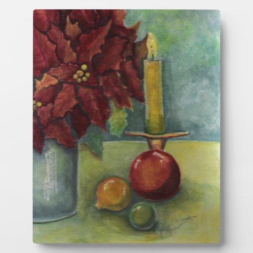 Poinsettia de la pintura de la acuarela del navida placas