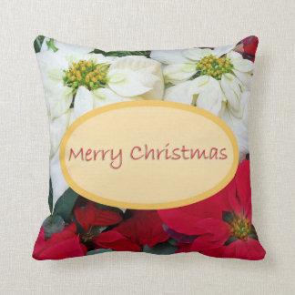 Poinsettia de las Felices Navidad Cojín