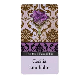 POINSETTIA de VENEZIA en Brown y lila Etiquetas De Envío