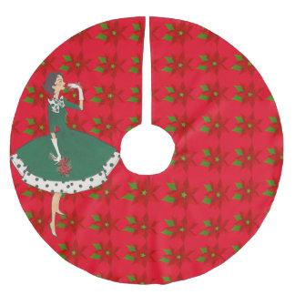 Poinsettia del chica del vintage falda para arbol de navidad de poliéster