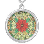 Poinsettia del navidad del vintage colgante redondo