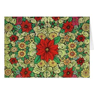 Poinsettia del navidad del vintage tarjeta de felicitación