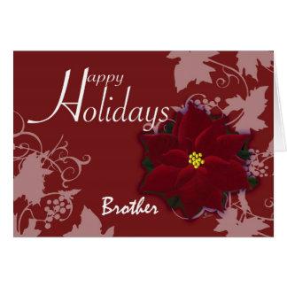 Poinsettia del rojo de la tarjeta de Navidad de Br