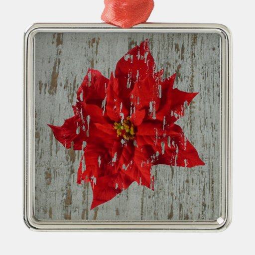 Poinsettia Distressed With Wood Background Square Metal Christmas Ornament