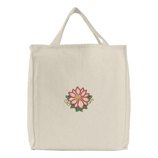 Poinsettia Elegance Embroidered Tote Bag