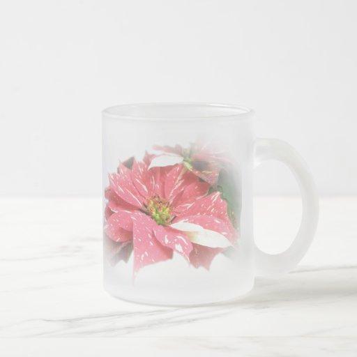 Poinsettia en rojo y blanco taza cristal mate