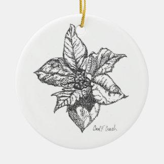 Poinsettia (Euphorbia pulcherrima) Ceramic Ornament