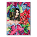 Poinsettia Fairy Note card- Christmas Holiday Art Stationery Note Card