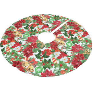 Poinsettia Floral Christmas Pattern Brushed Polyester Tree Skirt