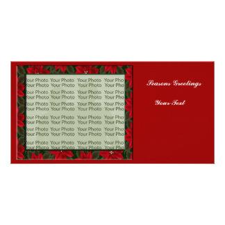 Poinsettia Floral Photo Frame 1 Custom Photo Card