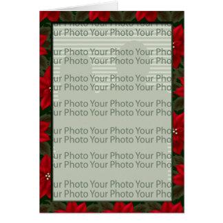 Poinsettia Floral Photo Frame Greeting 1 Card