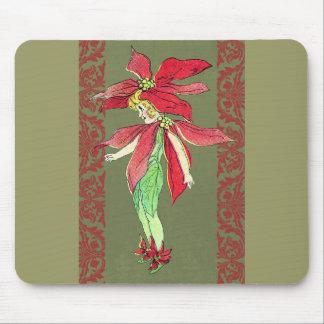 Poinsettia Flower Fairy Mouse Pad
