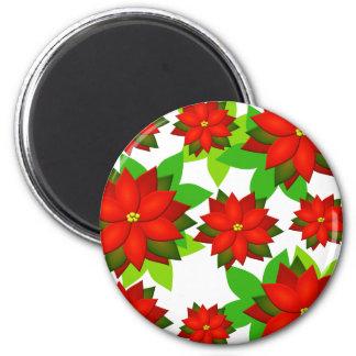 Poinsettia Flower Style Design Magnet