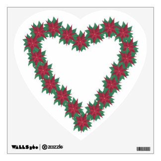 Poinsettia Flowers Heart Shaped Wall Decal