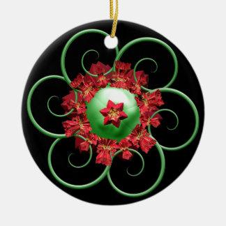 Poinsettia Fractal Christmas Ornament