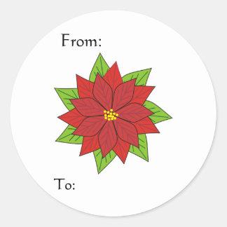 Poinsettia Gift Tag Round Stickers