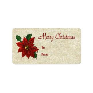 Poinsettia Gift Tags Custom Address Labels