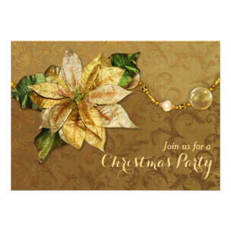 Poinsettia Gold Christmas Invitation 2