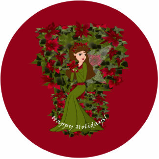 Poinsettia Happy Holiday  Faery Ornament