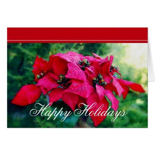 Poinsettia Happy Holidays Customer Card