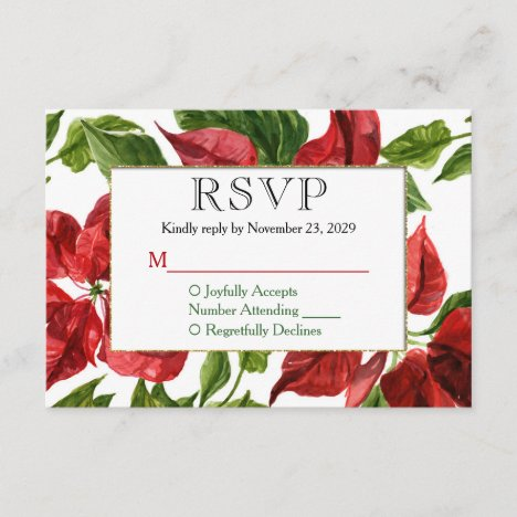 Poinsettia Holiday Christmas RSVP Wedding Response