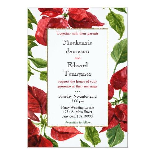Poinsettia Holiday Christmas Wedding Invitation
