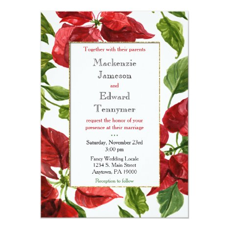 Poinsettia Holiday Christmas Wedding Invitation