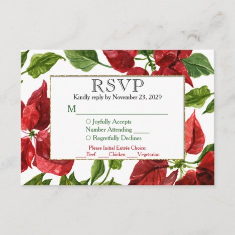 Poinsettia Holiday RSVP Wedding Response w/ Meal