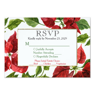 Poinsettia Holiday RSVP Wedding Response w/ Meal Card