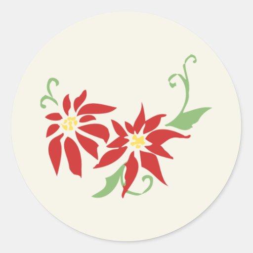 Poinsettia Holiday Sticker