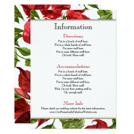 Poinsettia Holiday Wedding Information Details Invitation