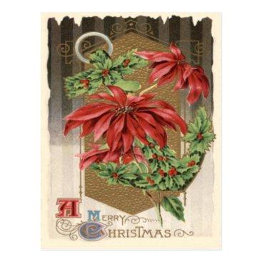 Christmas Themed Poinsettia Holly Anchor Nautical Postcard